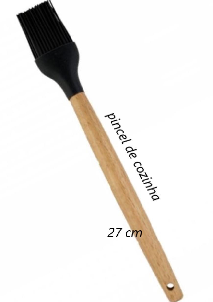 Pincel culinário de silicone e madeira untar confeitar preto 28cm livre de bpa
