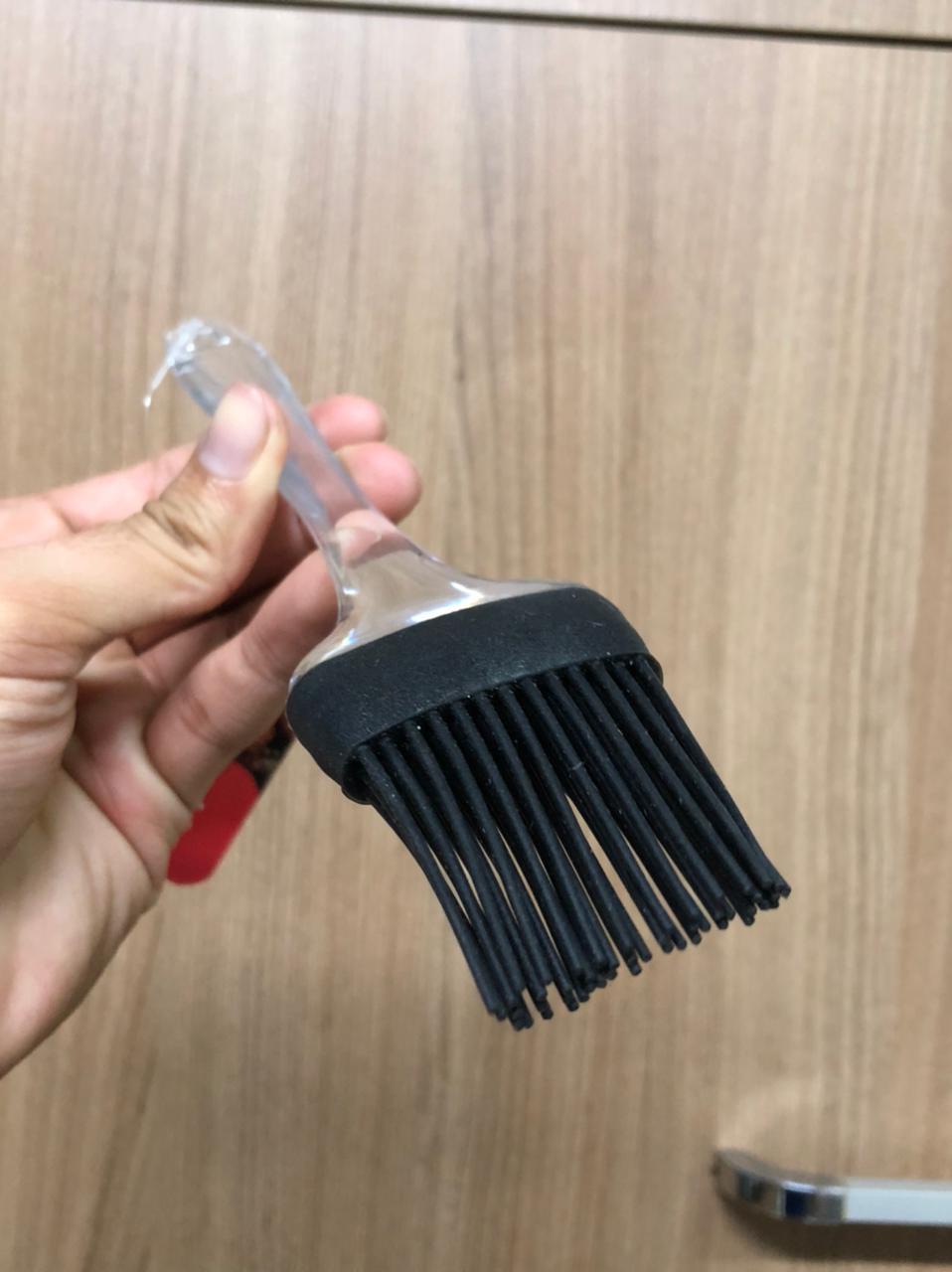Pincel culinário de silicone inox untar confeitar preto 22cm