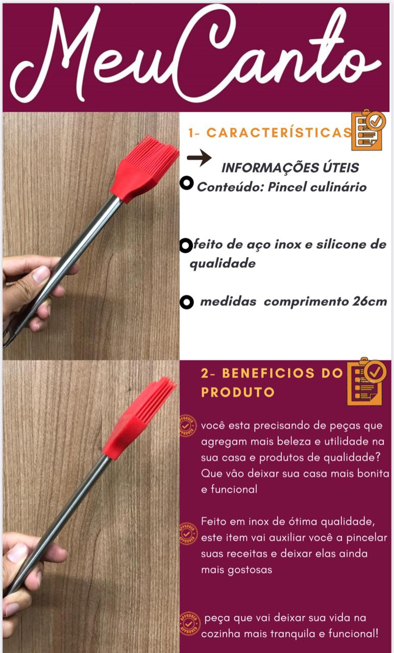 Pincel culinário de silicone inox untar confeitar vermelho 26cm