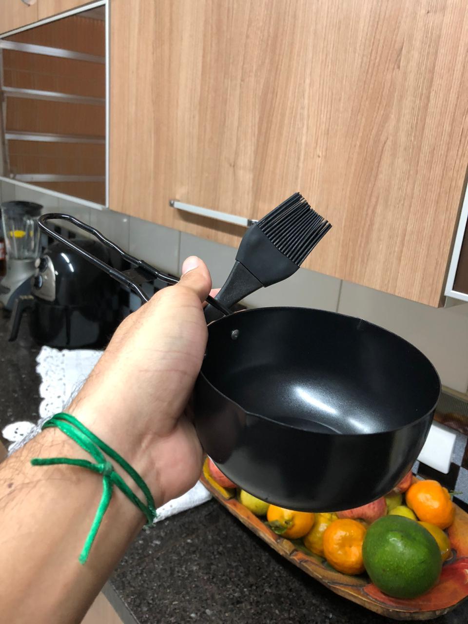 Pincel culinário de silicone molhos e bowl para churrasco preto 32cm livre de bpa