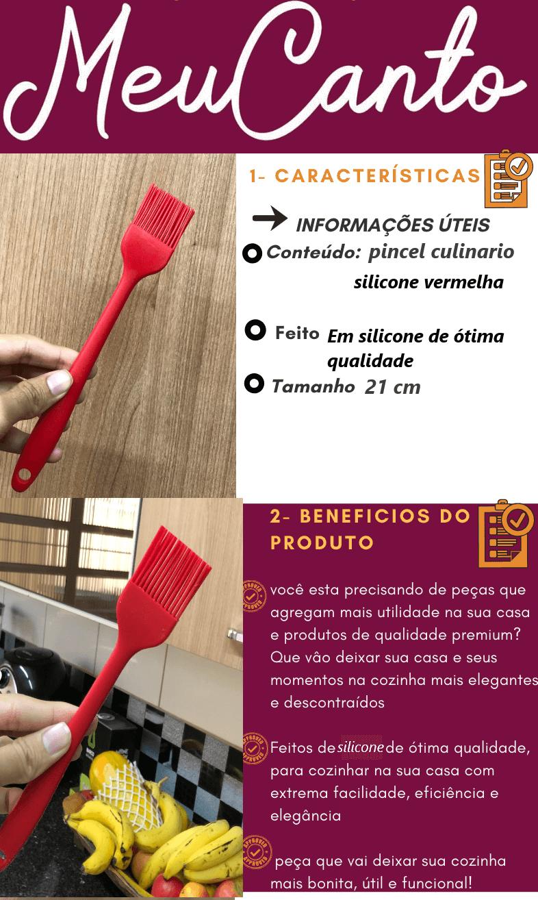 Pincel culinario de silicone untar confeitar vermelho 21cm