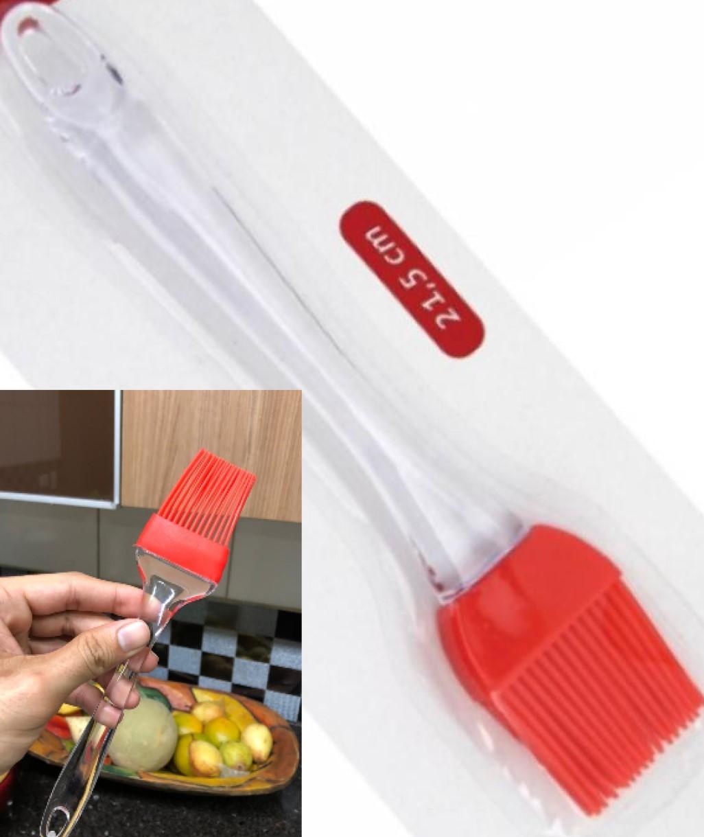 Pincel culinário de silicone untar confeitar vermelho 22cm