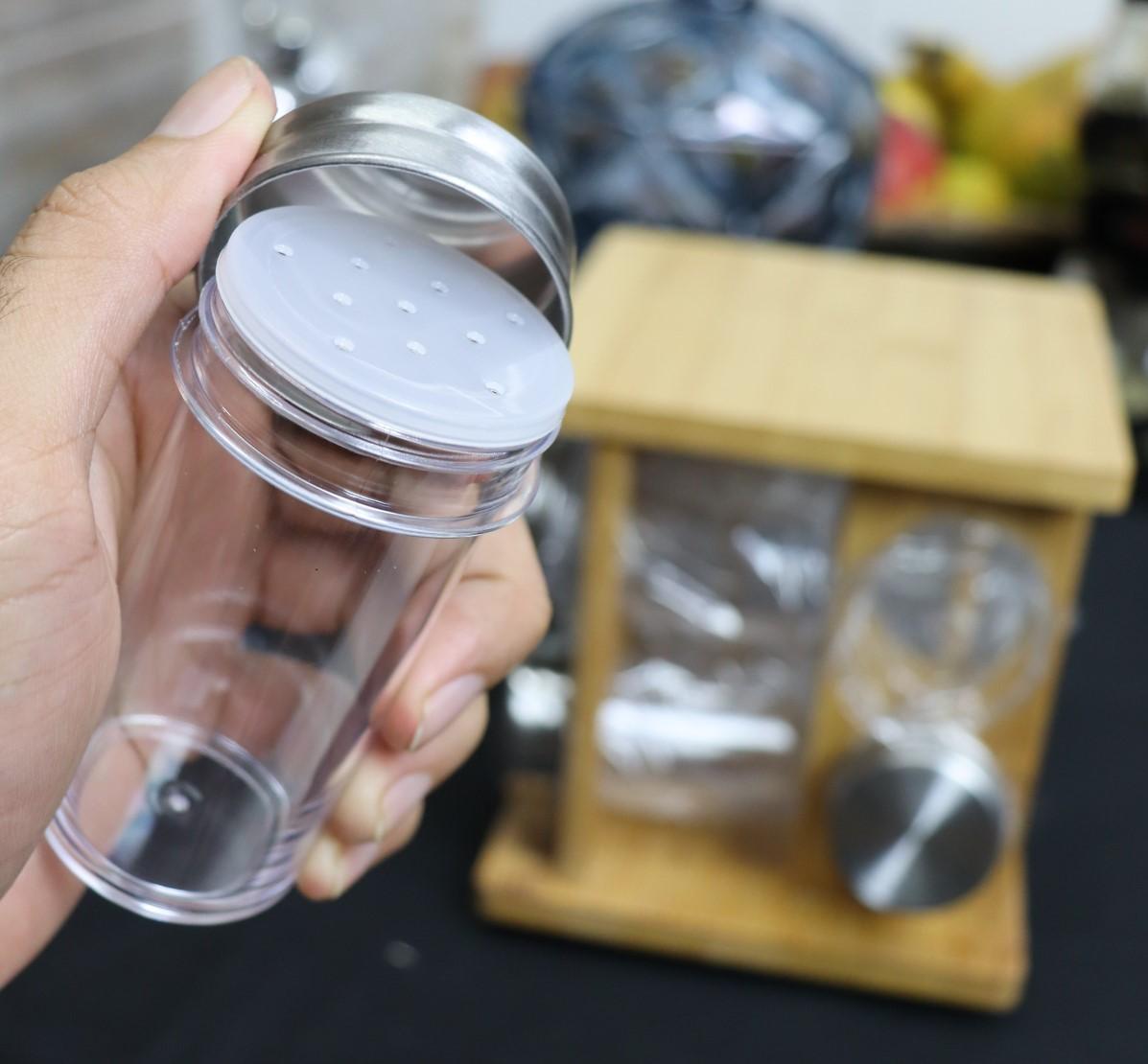 Porta organizador de temperos cozinha porta condimentos de bambu giratório 8 peças