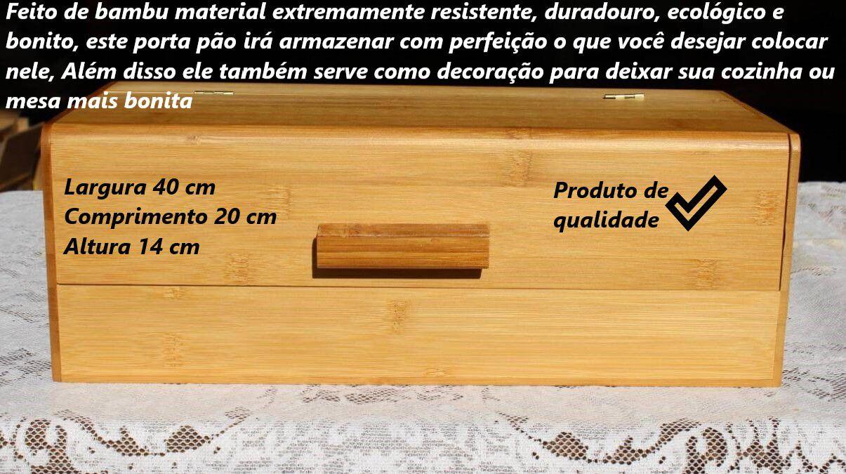 porta pão de bambu ecológico com tampa L40 X C20 X A14 guarda pão Eco-kitchen