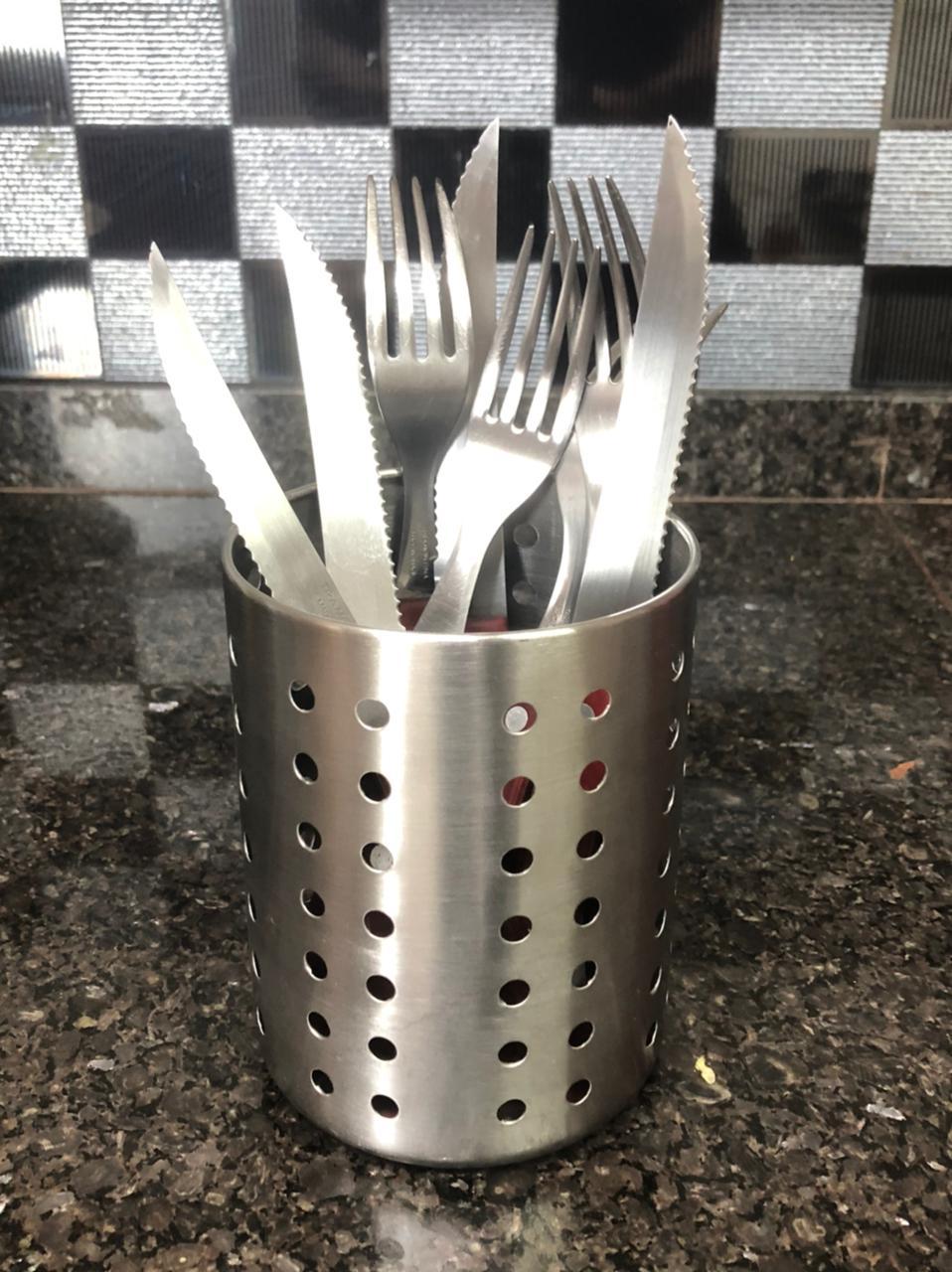Porta talher utensilio de cozinha aço inox talher pincel organizador 10x12 cm