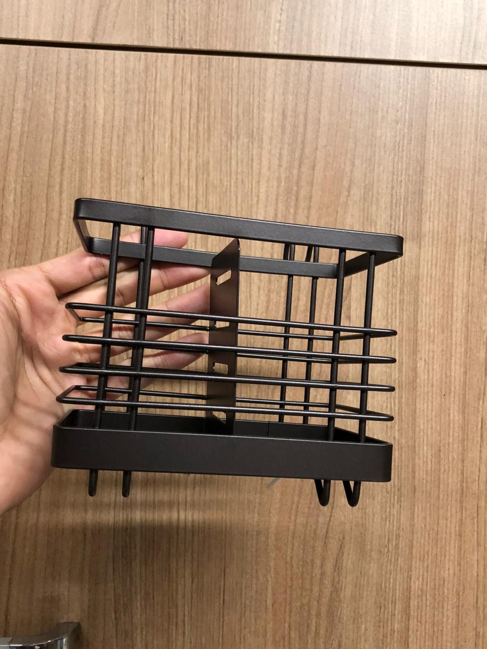 Porta talher utensilios de cozinha pincel organizador metal com divisoria