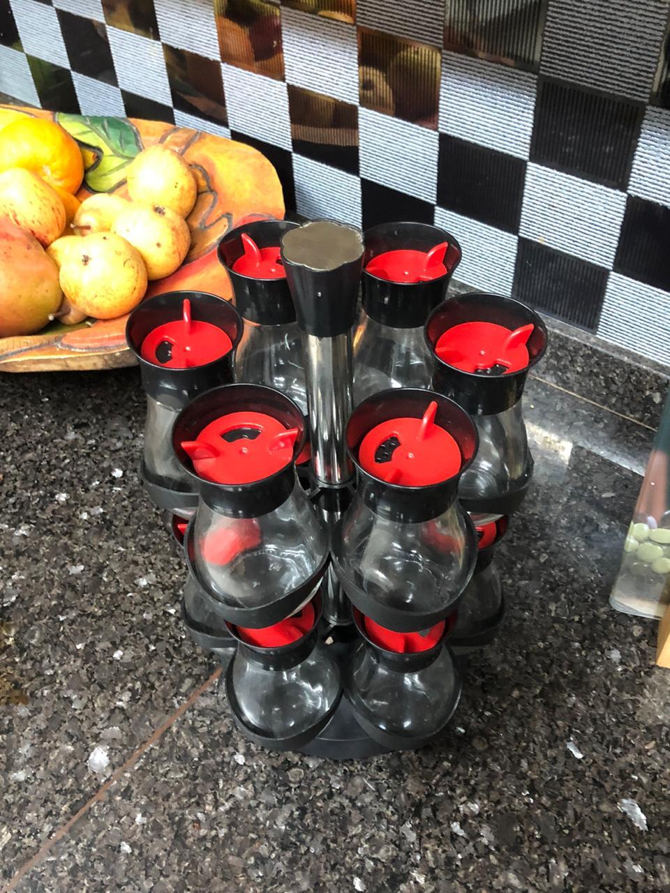 Porta temperos cozinha porta condimentos 12 potes suporte giratório