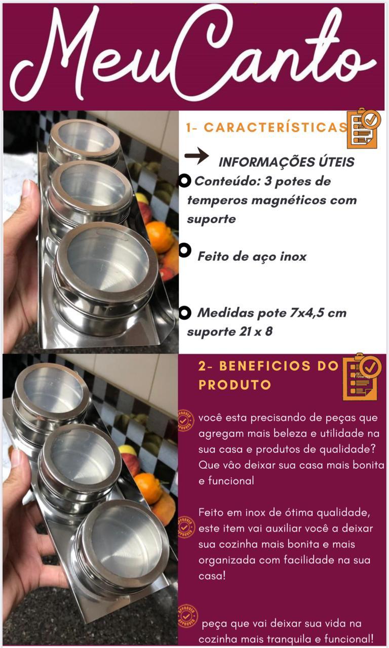Porta temperos magnéticos cozinha porta condimentos 3 potes com suporte