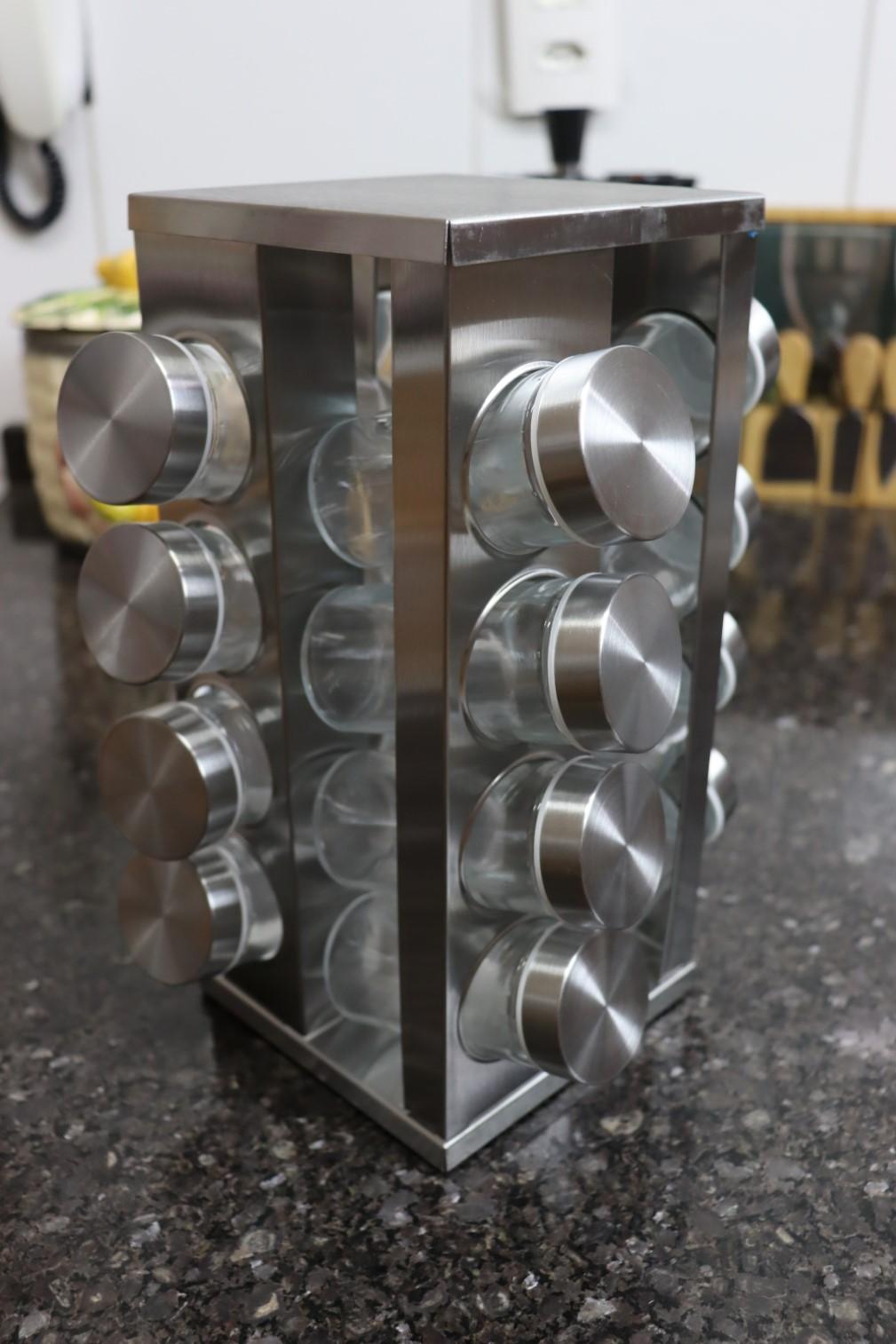 Porta temperos organizador de cozinha giratório condimentos 16 potes vidro