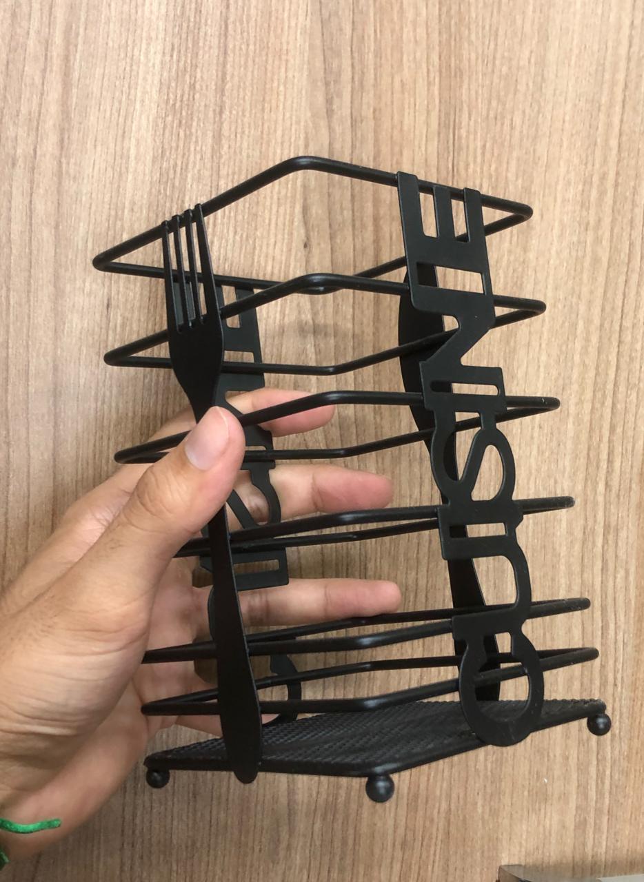 Porta utensilio de cozinha talher pincel organizador preto metal cromado 10x16 cm