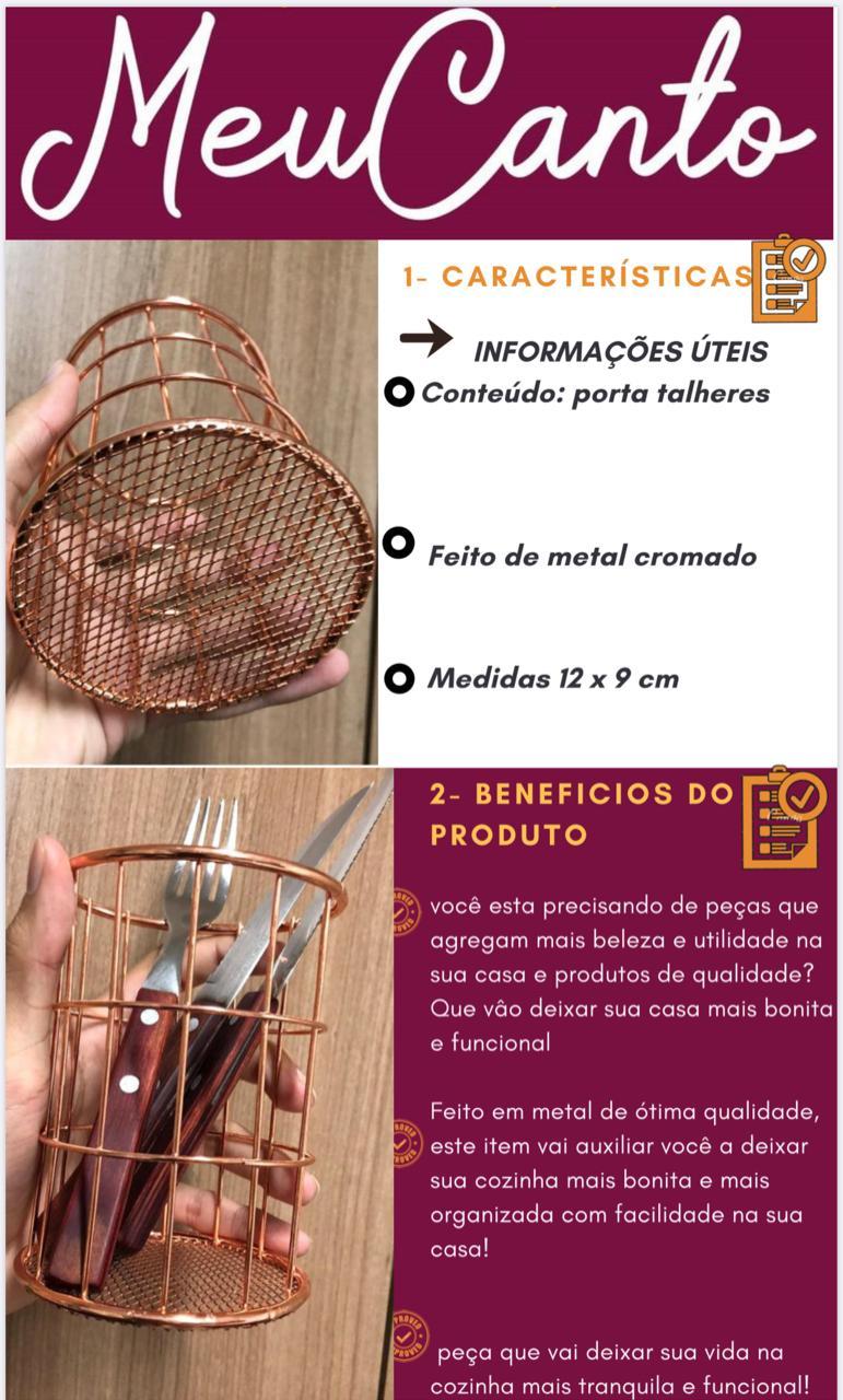 Porta utensilio de cozinha talher pincel organizador rose metal cromado 12x9 cm