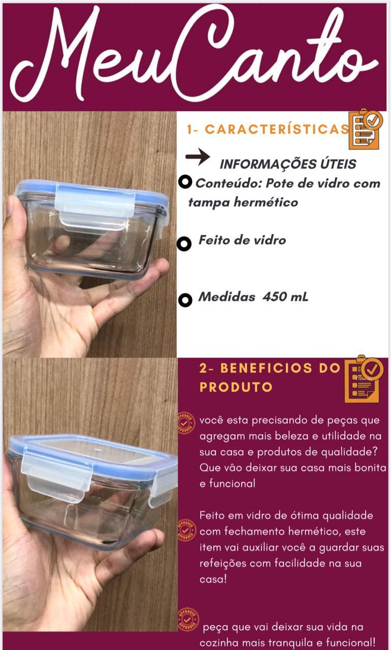 pote porta mantimentos vidro hermético 450mL com tampa