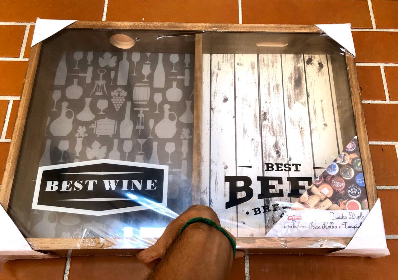 quadro decorativo duplo porta rolha tampinha vinhos e cervejas