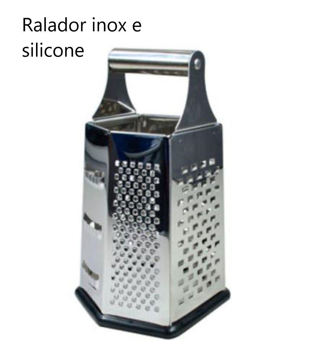 Ralador 6 faces aço inox e silicone com alça auxiliar 21cm para queijos nozes legumes