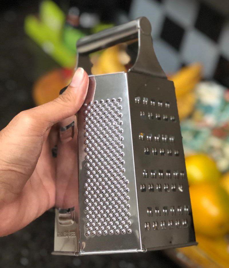Ralador 6 faces inox com alça auxiliar 20cm para queijos nozes legumes