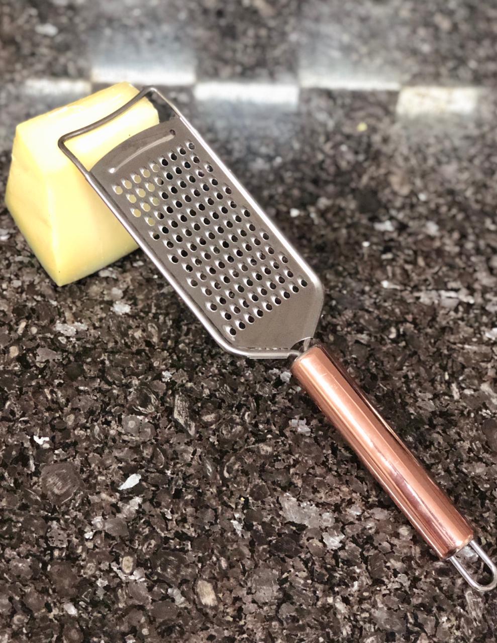 Ralador de queijo pratico com cabo aço inox para queijos nozes rose cobre