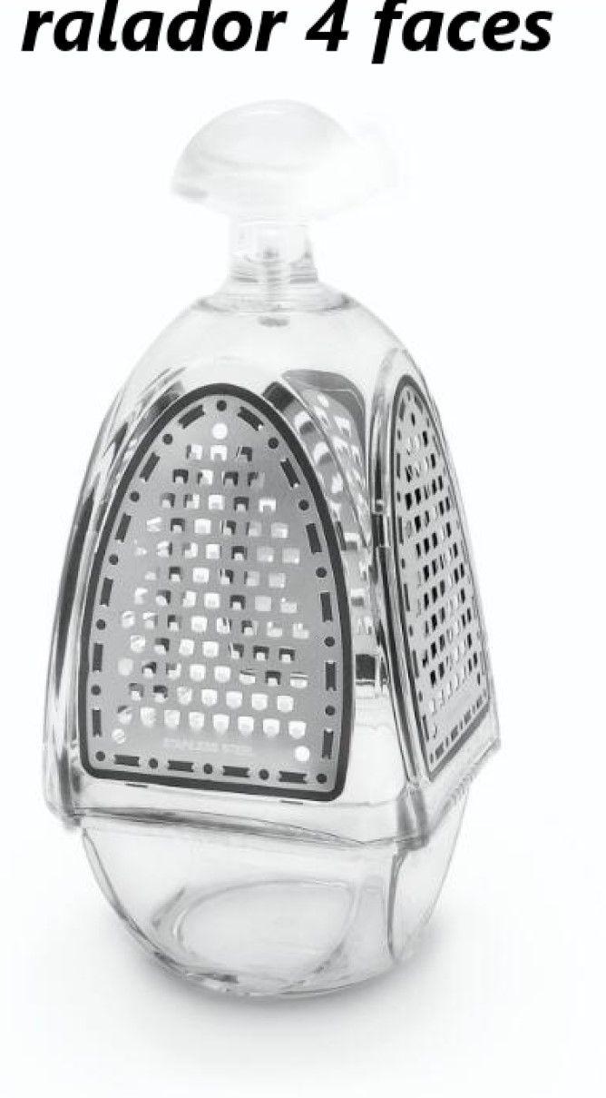 Ralador4 faces de acrílico e  aço inox para queijos nozes