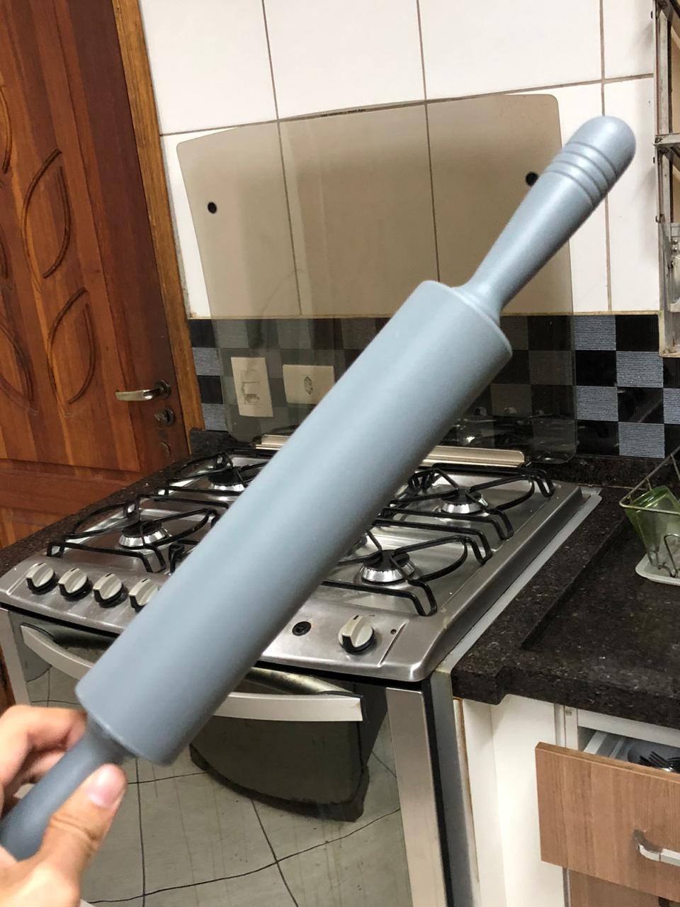 Rolo de massas macarrão pizza silicone antiaderente 48 cm cinza