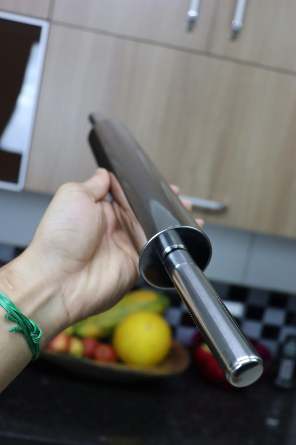 Rolo para abrir massas macarrão pão pizza Aço Inox antiaderente 45cm