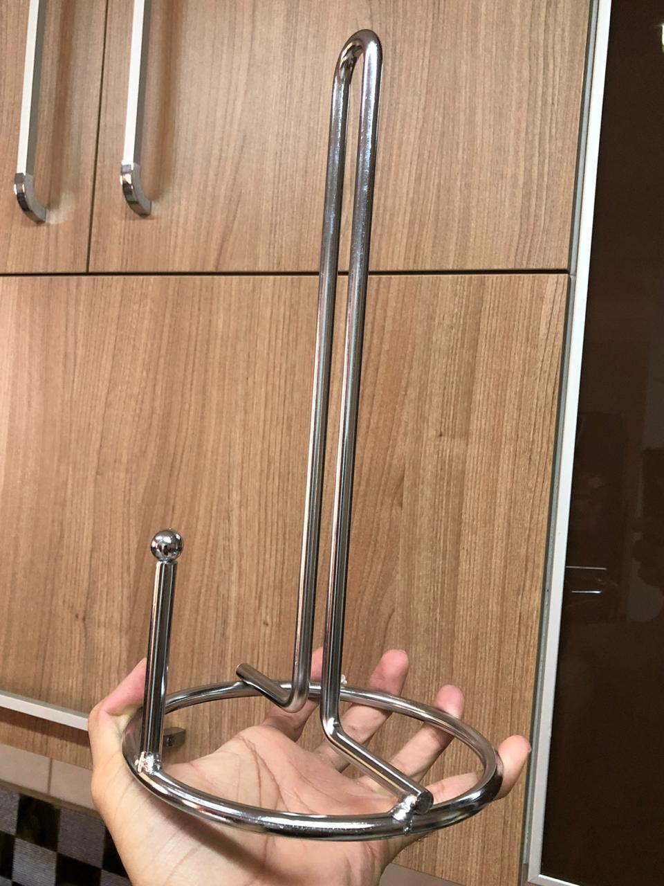 suporte para rolo papel toalha mesa cozinha vertical aço inox