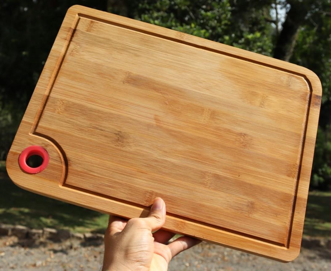 tabua de corte carne cozinha bambu madeira rustico higienica 37,5x27cm taboa de churrasco
