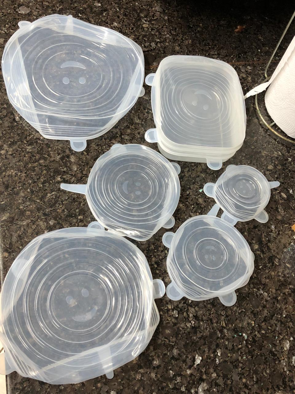 Tampas de silicone reutilizáveis 6 tamanhos livre de BPA