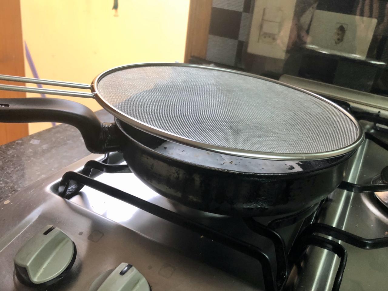 Tela anti respingo fritura aço inox 25cm MimoStyle