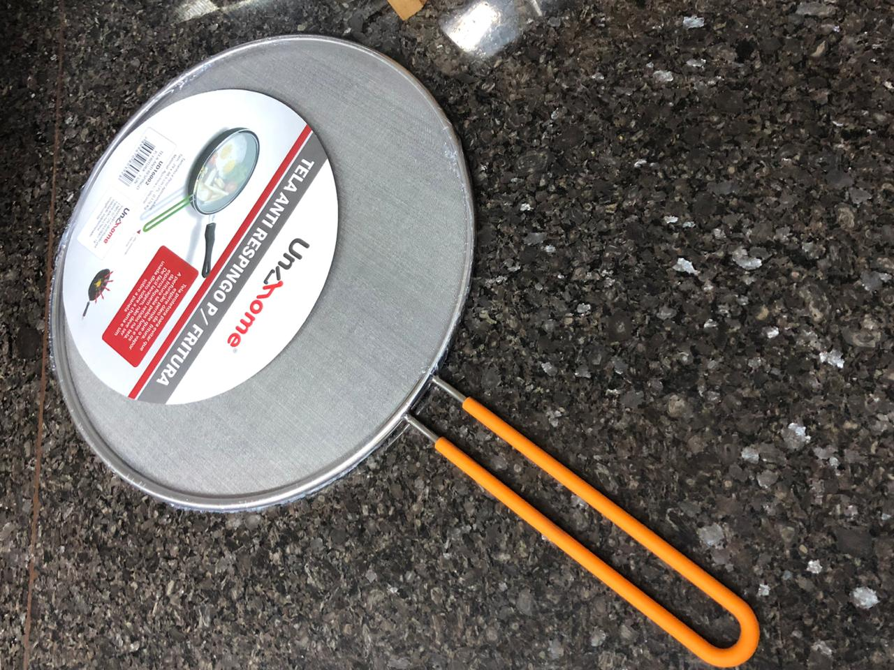 Tela anti respingo fritura aço inox 29 cm laranja