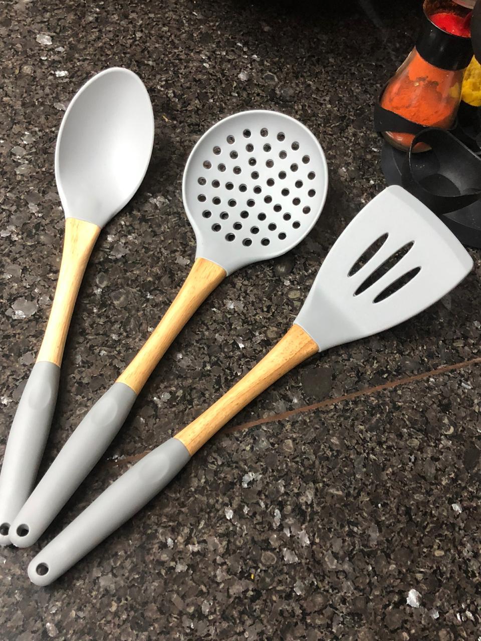 Utensílios de cozinha silicone kit3 unidades silicone madeira colher espatula escumadeira