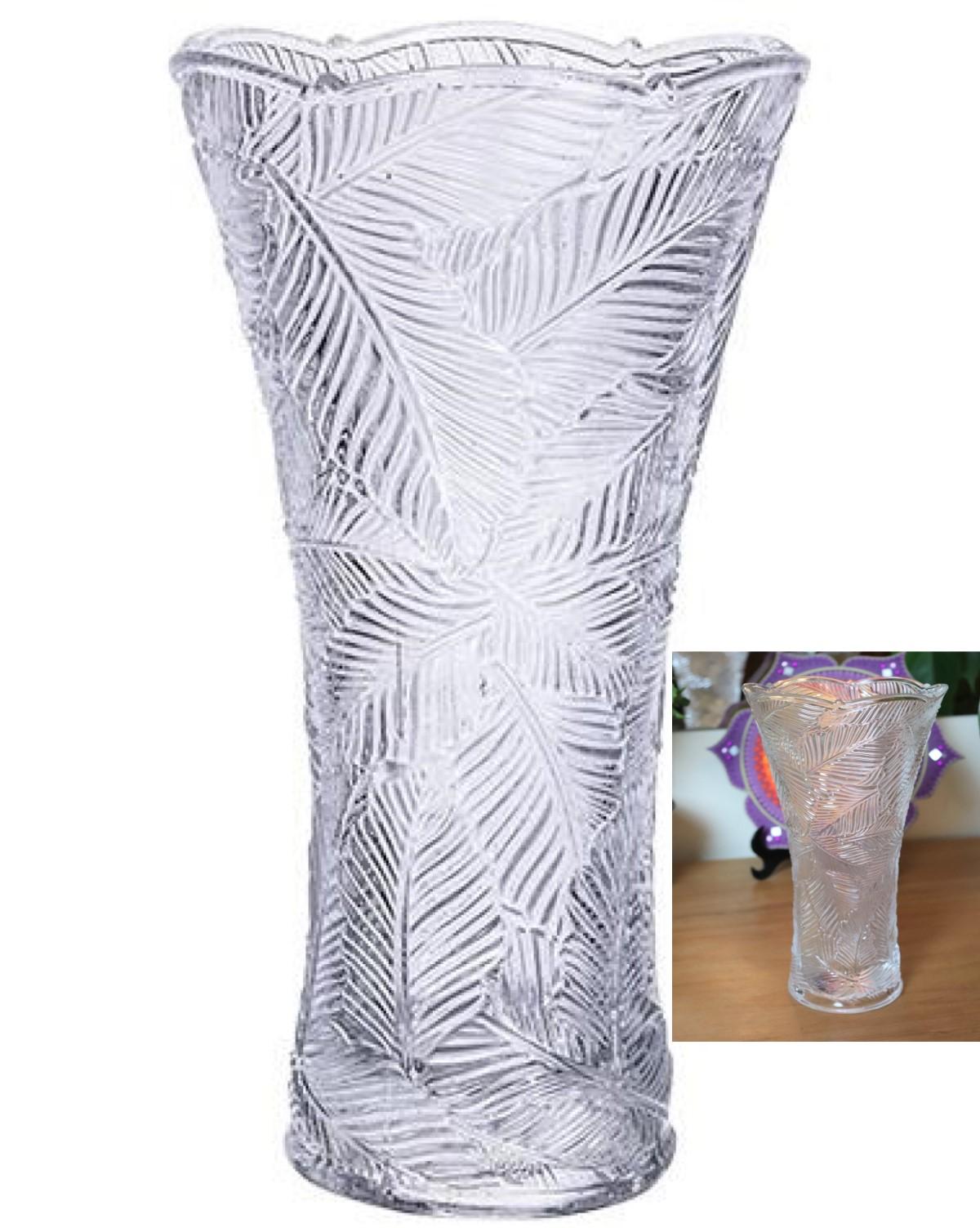 Vaso floreiro folhagem de cristal decorativo A24 X D13