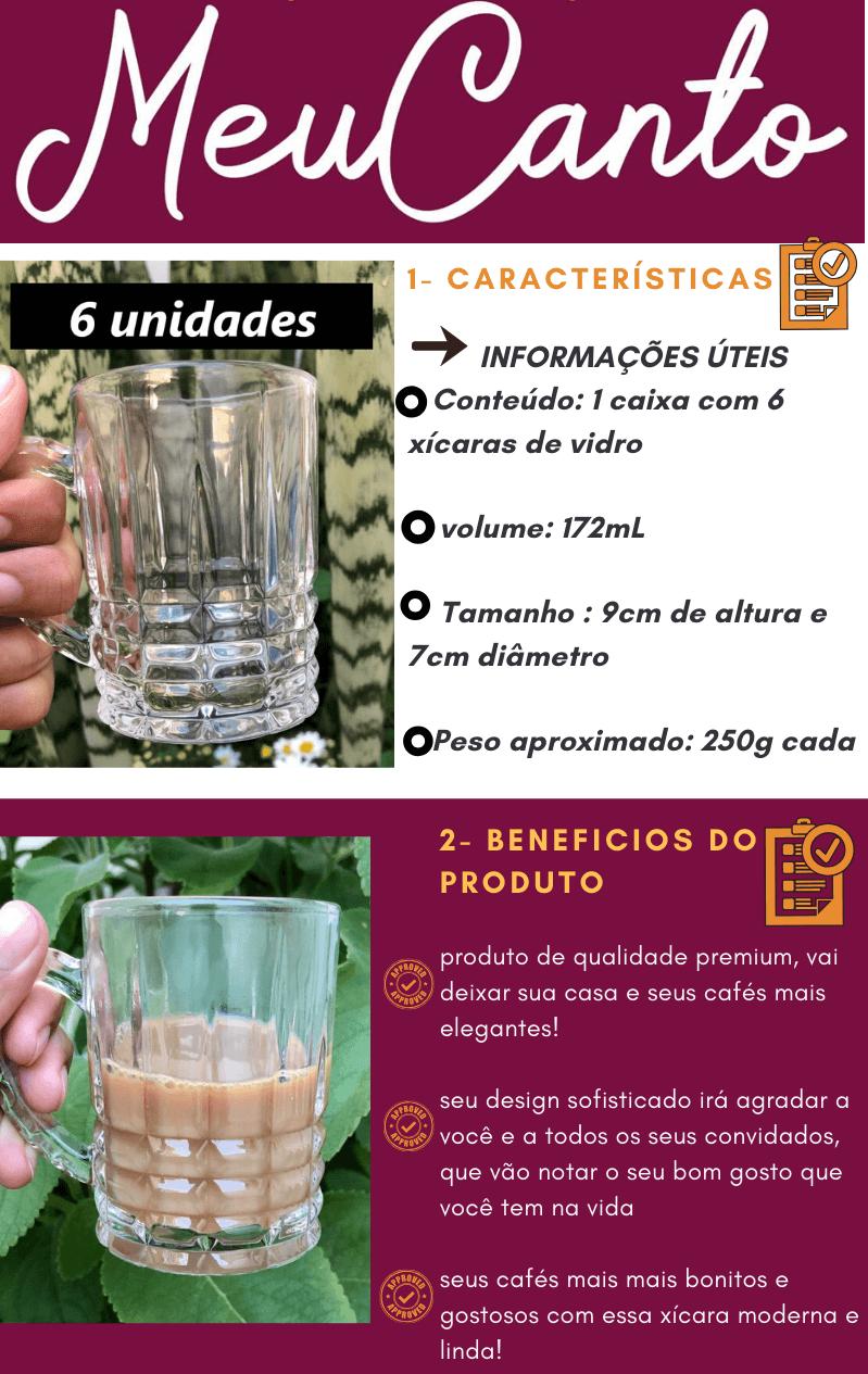 xícaras de vidro de café 6 unidades 172mL Tartan Caneca de vidro nespresso dolcegusto
