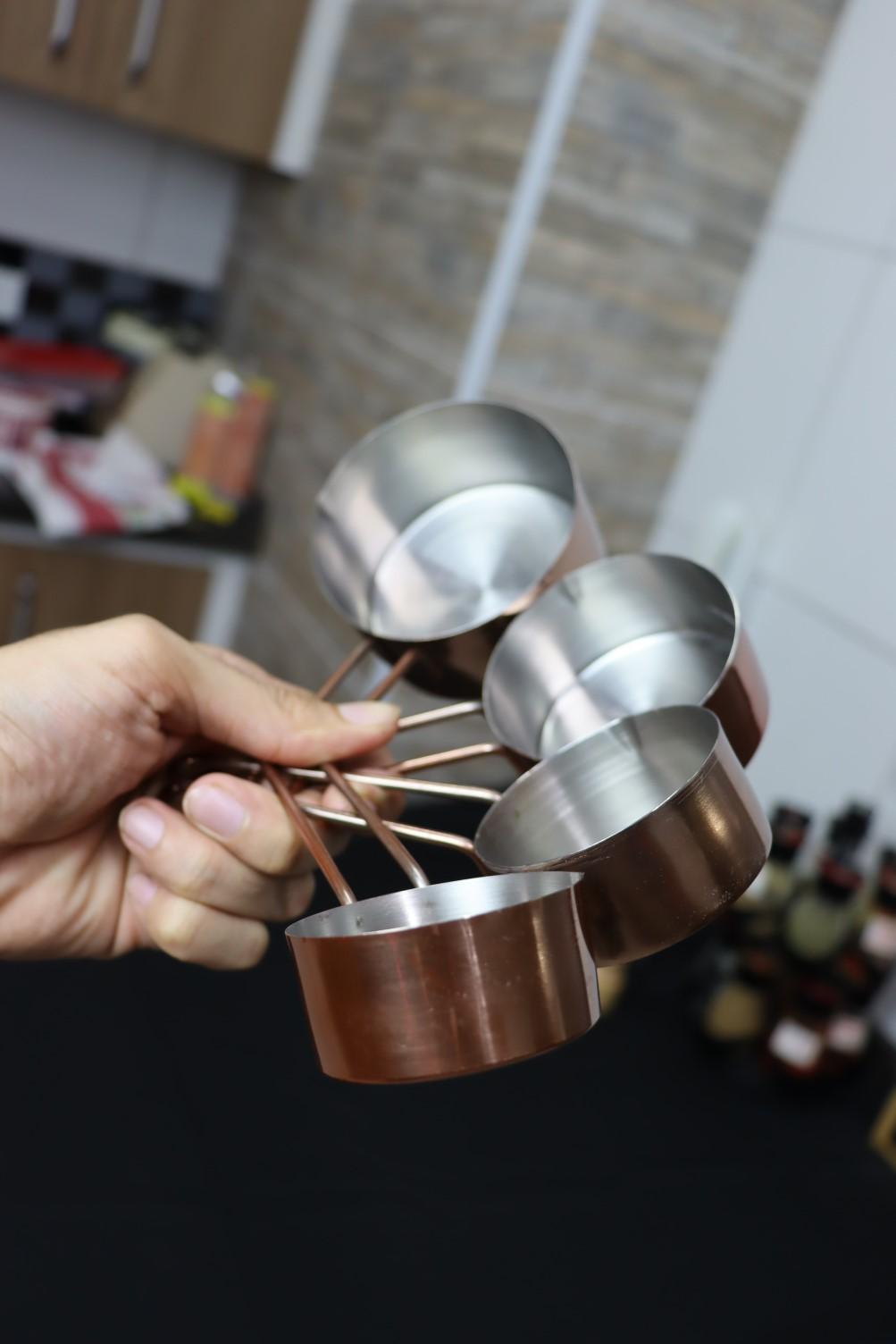 xicaras medidoras de cozinha kit4 colher medidas aço inox cor rose cobre