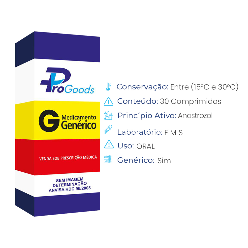 ANASTROZOL 1 MG CX C/ 30 COMPR (G) (EMS)  - ProGoods