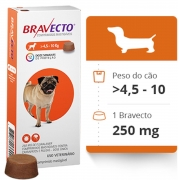 Kit com 5 Antipulgas Bravecto Para Cães De 4,5 A 10 kg - 250 mg - Msd