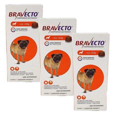 Kit Com 3 Antipulgas Bravecto Para Cães De 4,5 A 10 Kg - 250