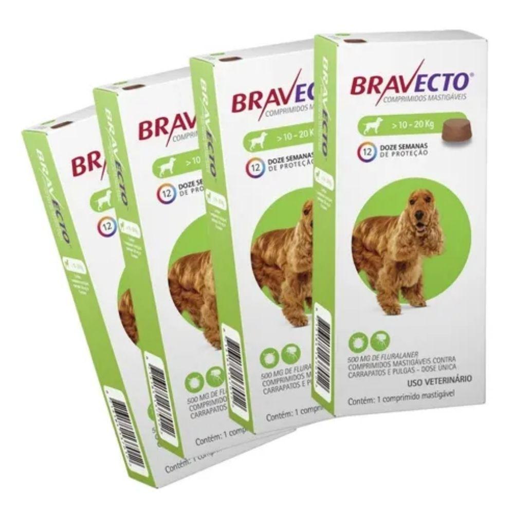 Kit com 4 Antipulgas Bravecto Para Cães De 10 A 20 kg - 500 mg