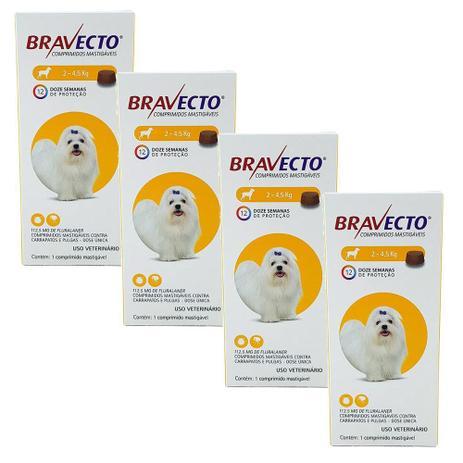 Kit com 4 Antipulgas Bravecto Para Cães De 2 A 4,5kg - 112,5 mg - Msd