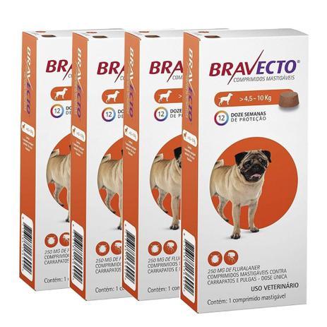 Kit com 4 Antipulgas Bravecto Para Cães De 4,5 A 10 kg - 250 mg - Msd