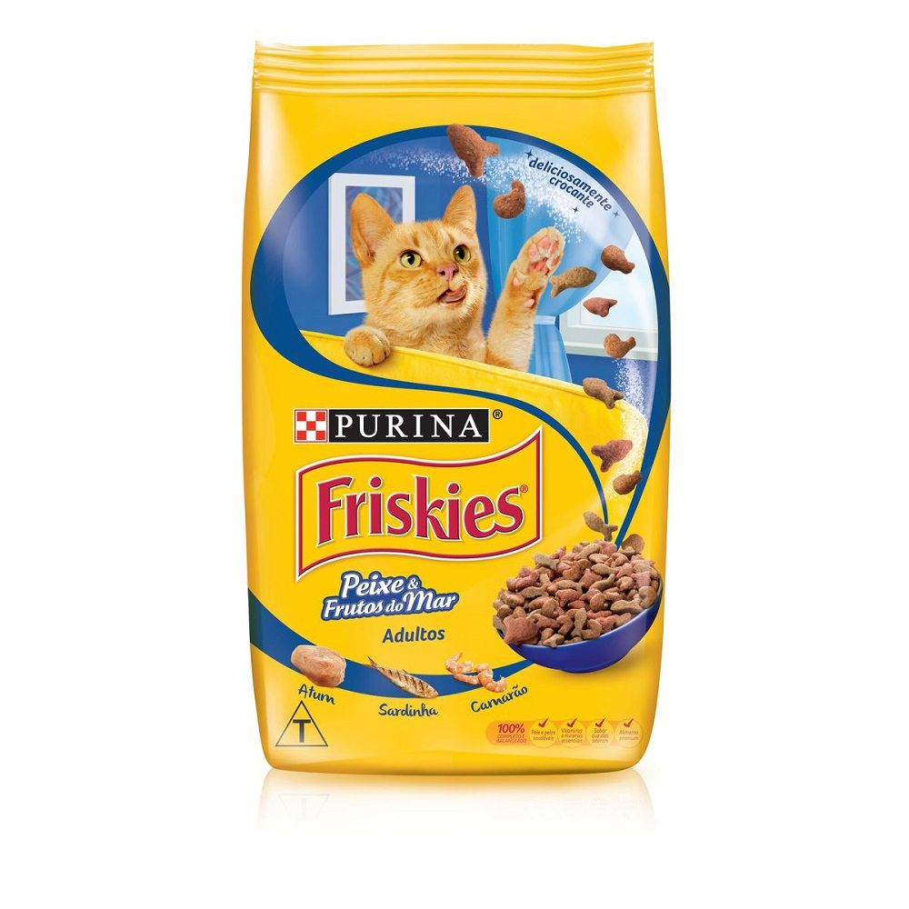 Nestle Purina Friskies Racao Seca Para Gatos Adultos Peixes E Frutos Do Mar 10.1kg