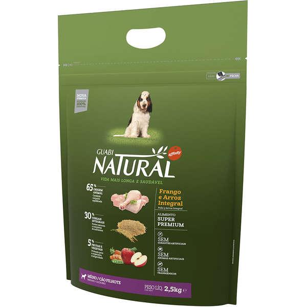 Ração Affinity Guabi Natural Frango e Arroz Integral para Cães Filhotes Raças Média 2,5KG