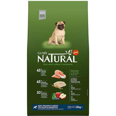 Ração Affinity Guabi Natural Salmão e Aveia Cães Adultos Sensitive Mini, Pequeno e Médio 12KG