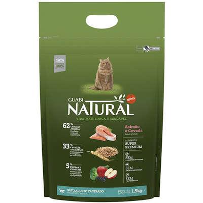 Ração Affinity Guabi Natural Salmão e Cevada para Gatos Adultos Castrados 1,5KG