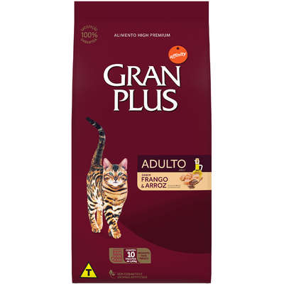 Ração Affinity PetCare Gran Plus Frango e Arroz para Gatos Adultos- 10 pacotes de 1,01 Kg