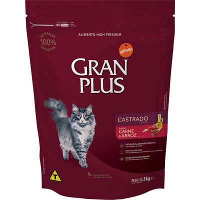 Ração Affinity PetCare GranPlus Carne e Arroz para Gatos Castrados 3KG