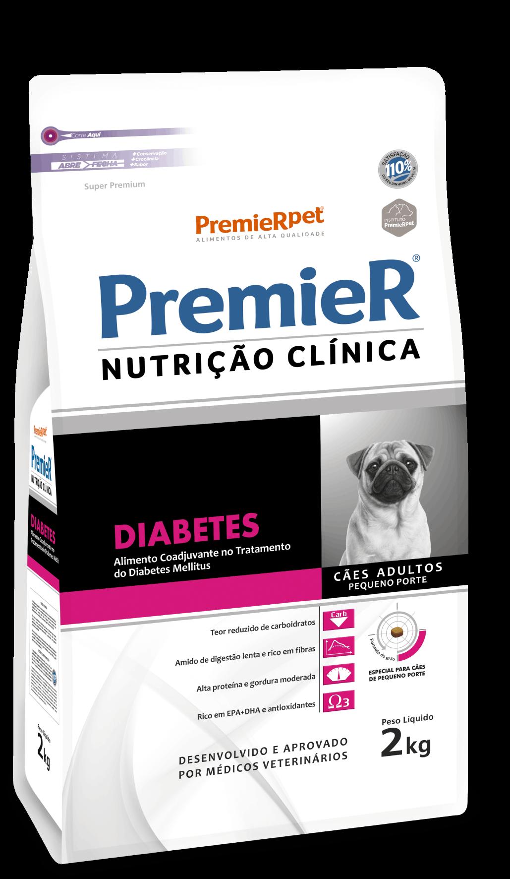 Ração Premier Pet Nutrição Clínica Diabetes para Cães Adultos Pequeno Porte- 2KG