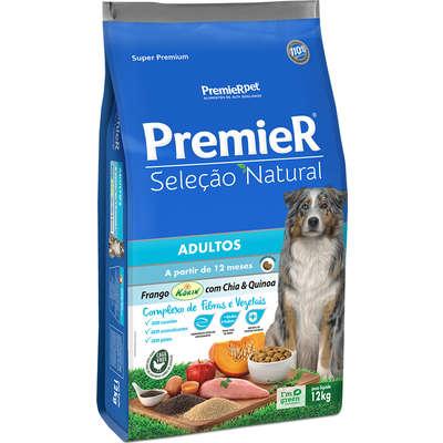 Ração Premier Pet Seleção Natural Frango Korin com Chia & Quinoa Cães Adultos- 12KG