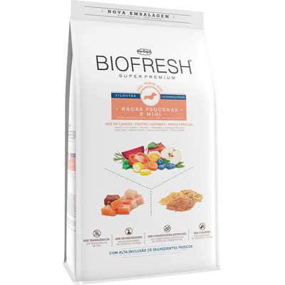 Ração Seca Biofresh Mix de Carne, Frutas, Legumes e Ervas Frescas Cães Filhotes de Raças Pequenas e Minis 3KG