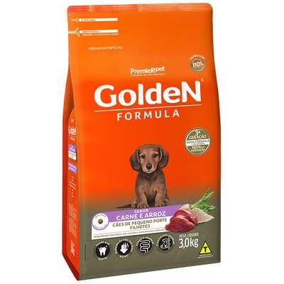 Ração Seca PremieR Pet Golden Formula Carne e Arroz para Cães Filhotes de Raças Pequenas- 3KG