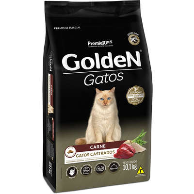 Ração Seca PremieR Pet Golden Gatos Adultos Castrados Carne- 10,1KG