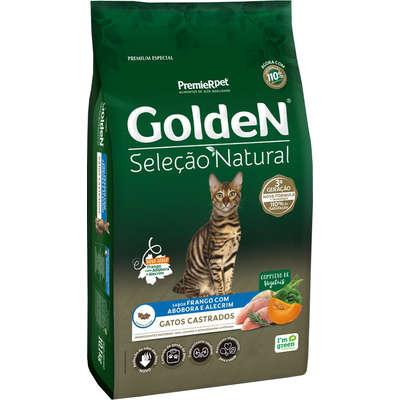 Ração Seca PremieR Pet Golden Seleção Natural Frango, Abóbora e Alecrim para Gatos Castrados- 3KG